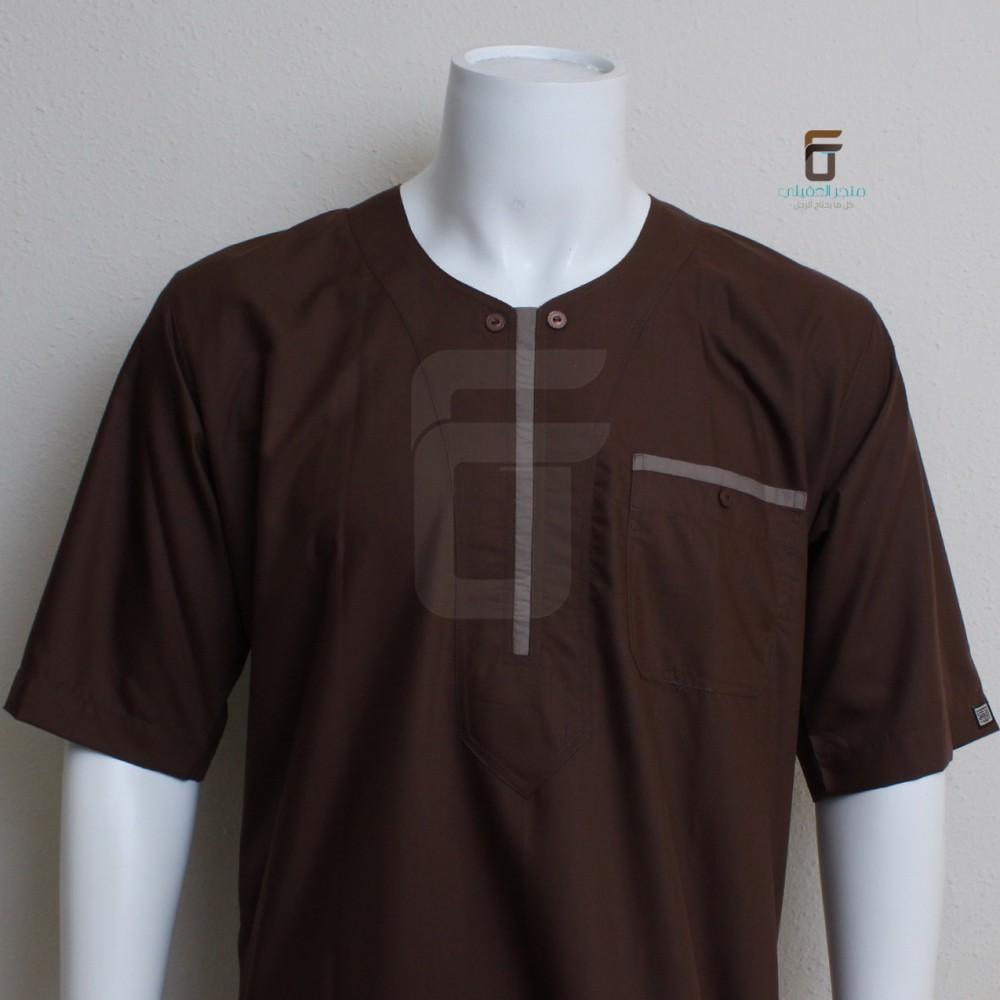 b71872cfc1538 ثوب نوم الاصيل دائري لون بني غامق مع خط بني فاتح